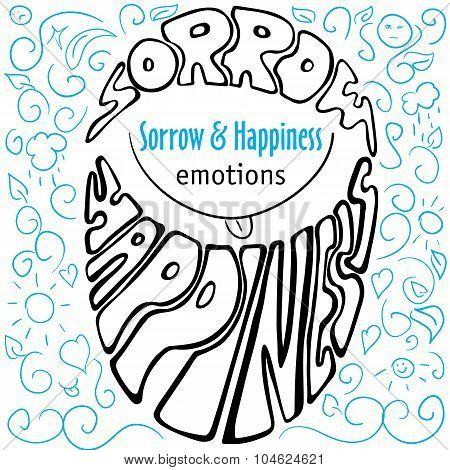 Hand Drawn Emotions Sorrow And Happiness