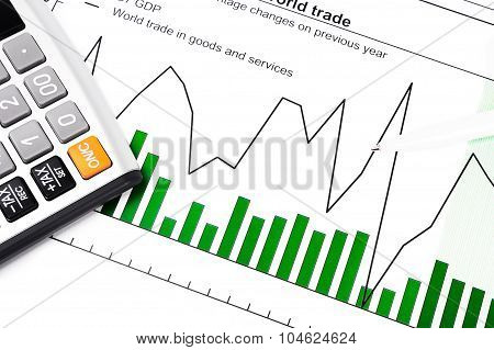 Gdp And Data Report - Chart, Calculator And Ball-pen