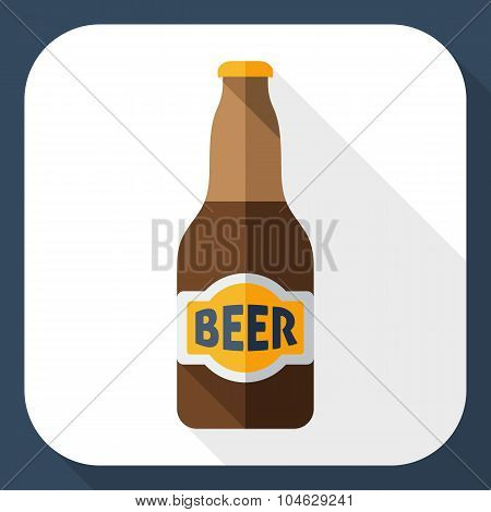 Beer Bottle Icon With Long Shadow