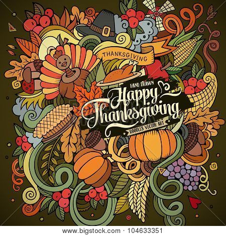 Cartoon vector hand drawn Doodle Thanksgiving illustration.