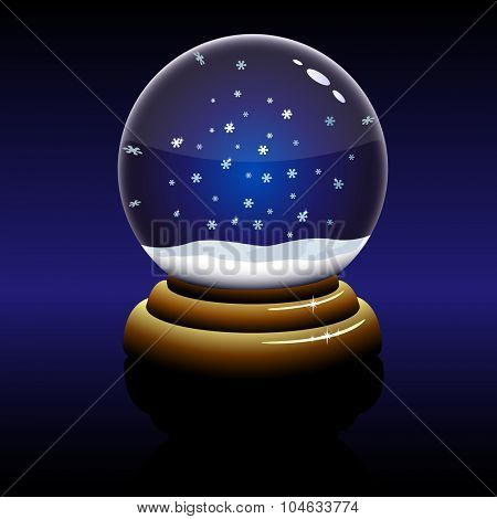Empty Christmas glass globe with falling snowflakes inside isolated on dark background.