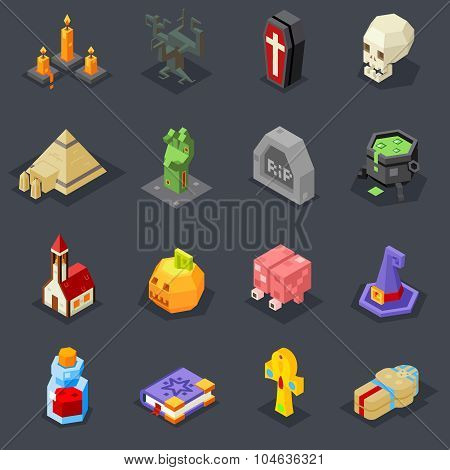 Halloween Icons Set Pumpkin Witch Hat Cauldron Grave Zombie Hand Elixir Skull Vampire Coffin Pyramid