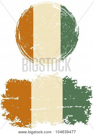 Cote d Ivoire round and square grunge flags. Vector illustration.