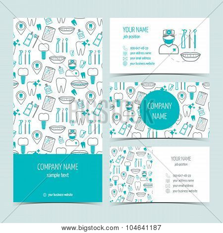Set Of Flyer, Brochure And Business Cards For Dental Clinic. Set Of Promotional Products. Flat Desig