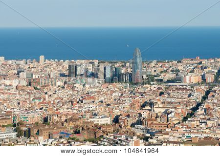 Top view to the Barcelona district El Poblenou