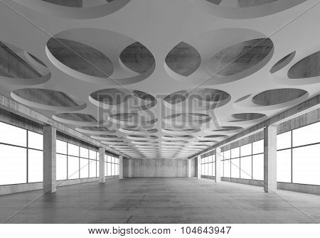 3D Interior With Round Pattern In Ceiling