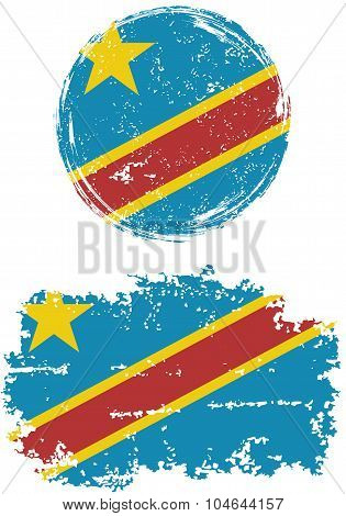 Congolese round and square grunge flags. Vector illustration.