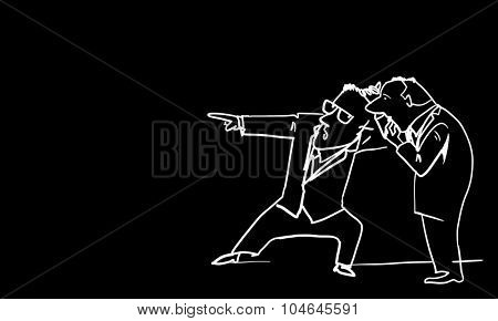 Caricature of two funny men on black background