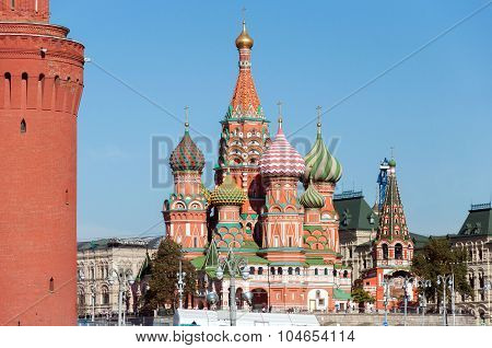 Moscow cityscape - Saint Basil Cathedral and Vasilevsky Descent of Red Square of Moscow Kremlin Russia