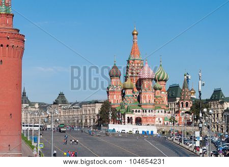 MOSCOW RUSSIA - 21.09.2015. Saint Basil Cathedral and Vasilevsky Descent of Red Square in a Moscow Kremlin