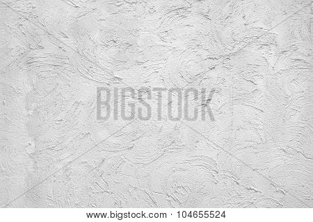 White Plastered Wall  Fragment With Brushstroks Handmade Abstract Pattern