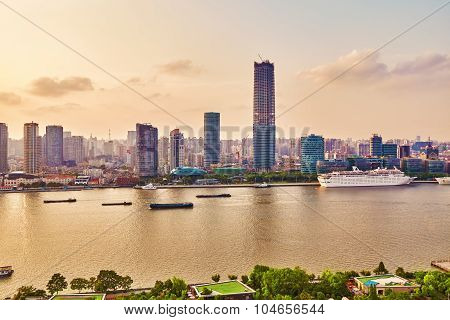 Shanghai, China -may 24, 2015. Skyline View From Bund Waterfront On Pudong New Area- The Business Qu