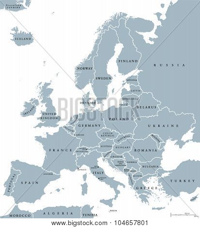 Europe Countries Political Map