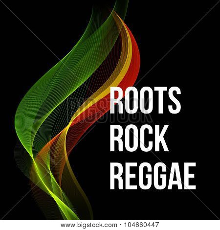 Reggae color wave poster design. Vector illustration