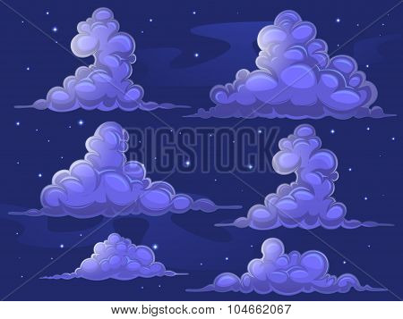 Nightly cartoon clouds