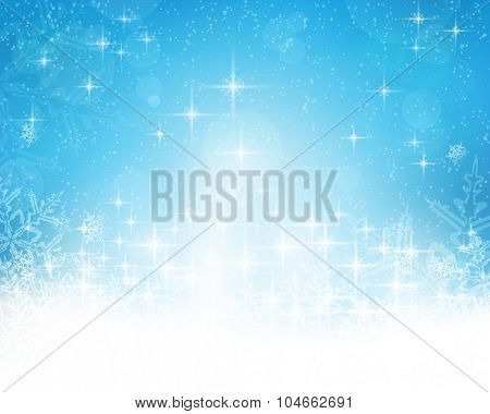 Festive blue white background with stars, snowflakes, out of of focus light dots and light effects which give it a festive and dreamy feeling. Copy space.