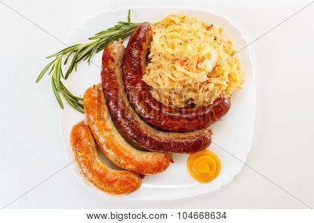 Oktoberfest Menu, Plate Of Sausages And Sauerkraut