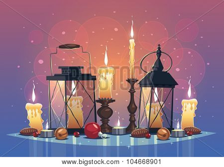 Set of candles and lanterns. Christmas greeting card \ background \ poster. Vector illustration.