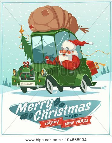 Santa Claus drives an old car. Christmas greeting card \ background \ poster. Vector illustration.