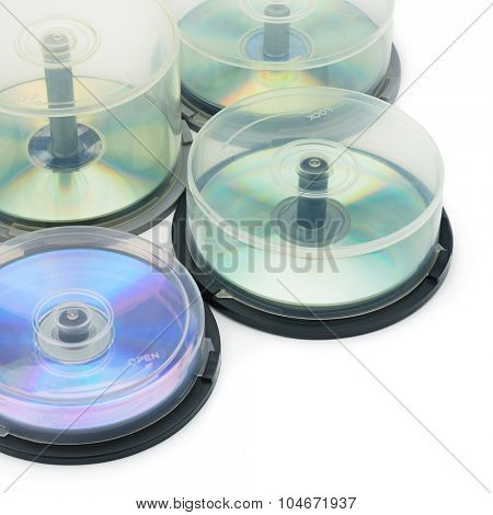Boxes with DVD disc isolated on white background