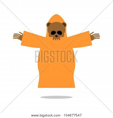 Death Bear In Yellow Clothes Reaches Out His Hands For Hug. Skeleton Of Wild Animal  Grim Reaper . I