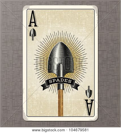Vintage playing card. Ace of Spades with old spade and ribbon banner