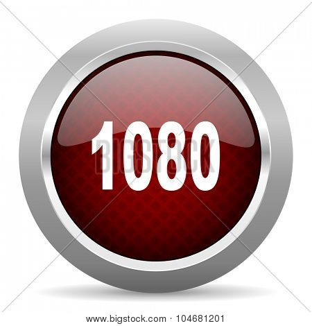 1080 red glossy web icon