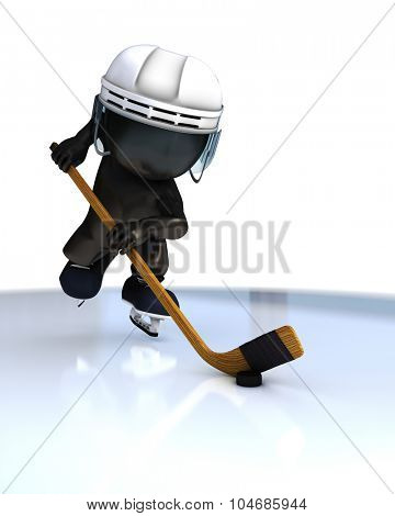 3D Render of Morph Man ice hockey