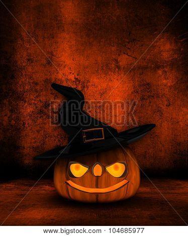 Grunge Halloween background with 3D Jack O Lantern