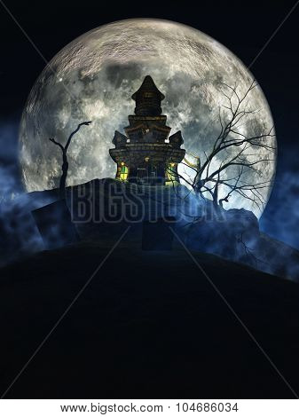 3D render of a Halloween spooky castle against a moonlit sky