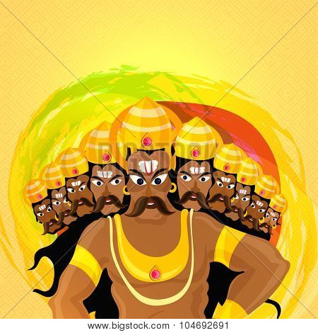 Angry Ravana with ten heads on colourful splash background for Indian Festival, Happy Dussehra celebration.