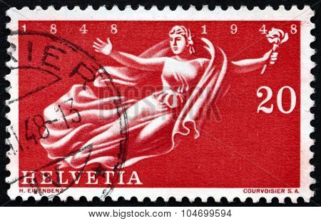 Postage Stamp Switzerland 1948 Helvetia, Allegory