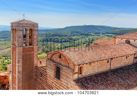 Cathedral called in Italian La Cattedrale di Santa Maria Assunta. Montepulciano, Tuscany, Italy. View from Communal Palace
