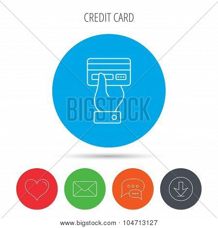 Credit card icon. Giving hand sign.