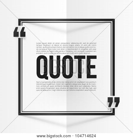 Black quote frame with placeholder text at white folded paper background