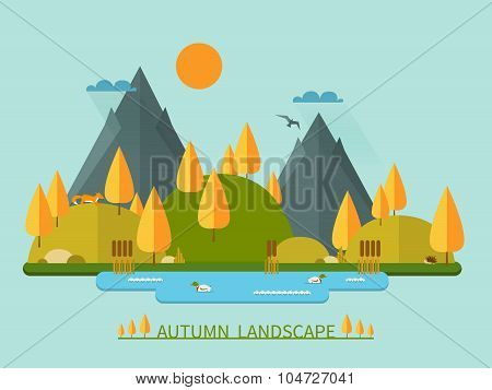 Flat autumn nature landscape illustration with sun, mountains, hills, pond, clouds and animals