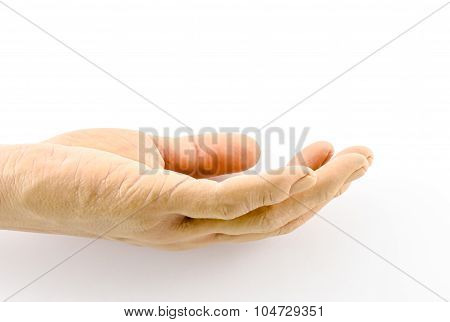 Close Up Open Fake Silicone Hand On White Background