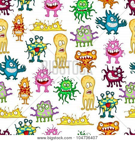 Colored cartoon monsters seamless pattern