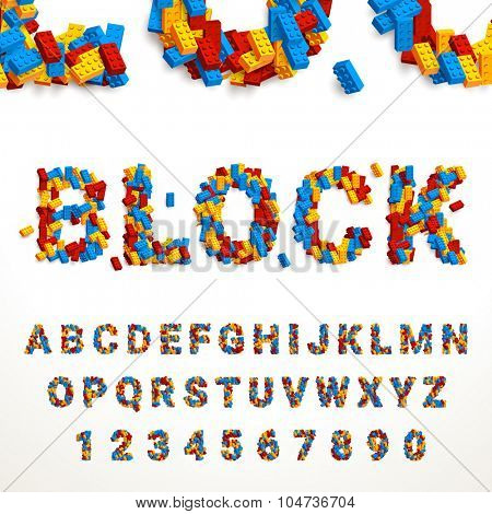 Vector typeface made of colorful blocks. Latin alphabet from A to Z and numbers from 0 to 9