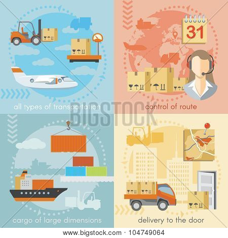 Set of logistics and delivery shipping concepts