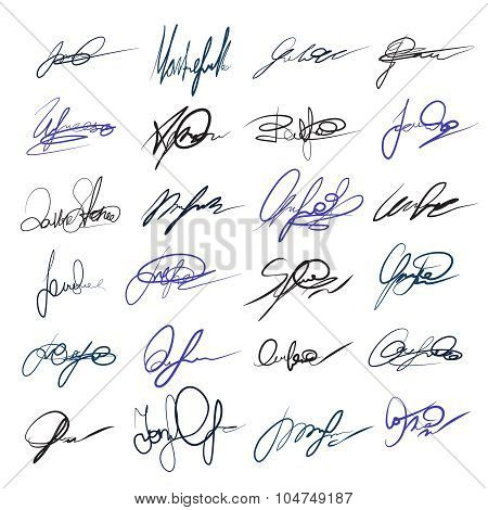 Handwritten personal signatures vector set