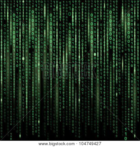Stream of binary code on screen. Abstract vector background