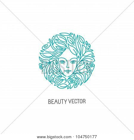 Vector Logo Design Template In Trendy Linear Style With Female Face