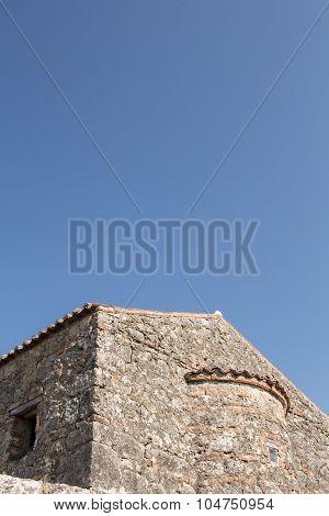 Stone Byzantine Building On Blue Sky With Copy-space.