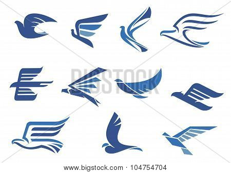 Abstract fast flying blue birds
