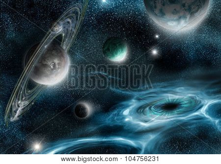 Black Hole And Alien Planets