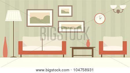 Vector flat interior of cartoon living room in green.