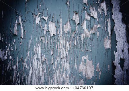Blue Peeling Paint Background