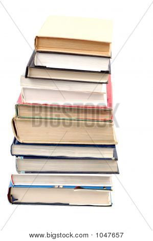 photo of books tower on white background poster