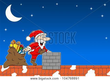 Santa Claus At Work On A Roof